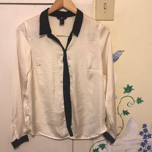 H&M shiny satin cream and white button down
